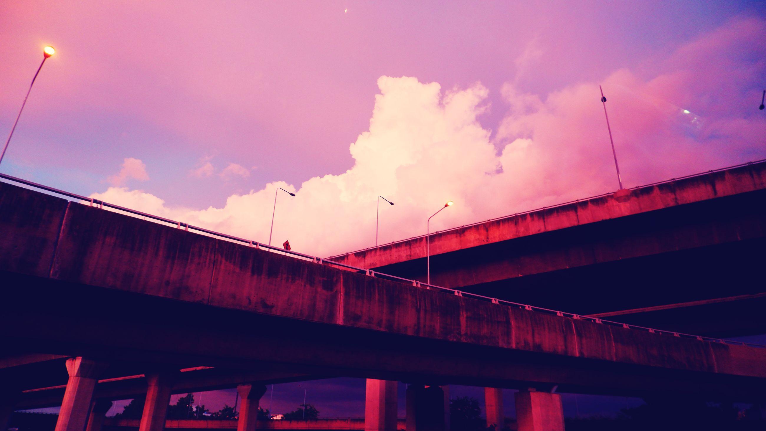 bridge, architecture, sky, cloud, built structure, night, evening, transportation, reflection, dusk, nature, sunset, light, no people, low angle view, city, beam bridge, street light, outdoors, darkness, building exterior, illuminated, street, cityscape