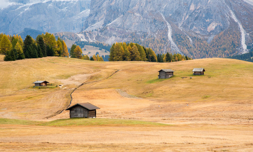 Mountain wooden chalets at the famous alpe di siusi valley on the dolomites, south tyrol in italy