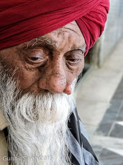 Await Close-up Gunbir Old Age Portrait Red Turban Sikh Sikhbeard Wrinkles