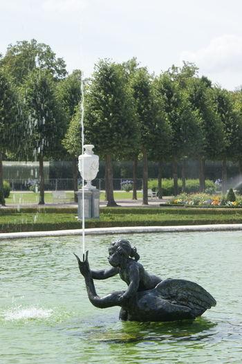 Carving Fountain Human Representation Schwetzingerschloss Schlosspark Sculpture Spray Statue Swannfountain Water