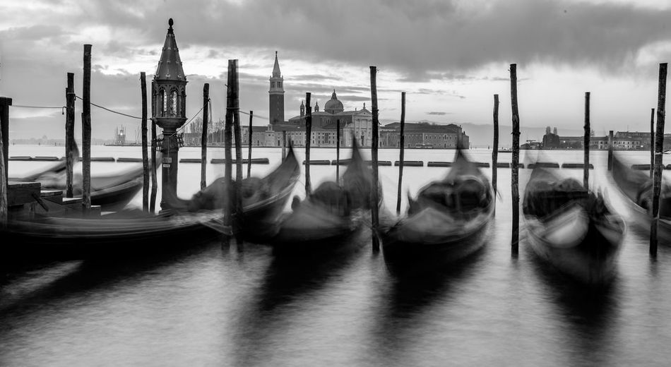 Black & White Black And White Blackandwhite Cloud - Sky Cultures Day Early Morning Gondola Gondola - Traditional Boat Iconic View Long Exposure Nature Nautical Vessel No People Outdoors Sea Sky Transportation Travel Vacation