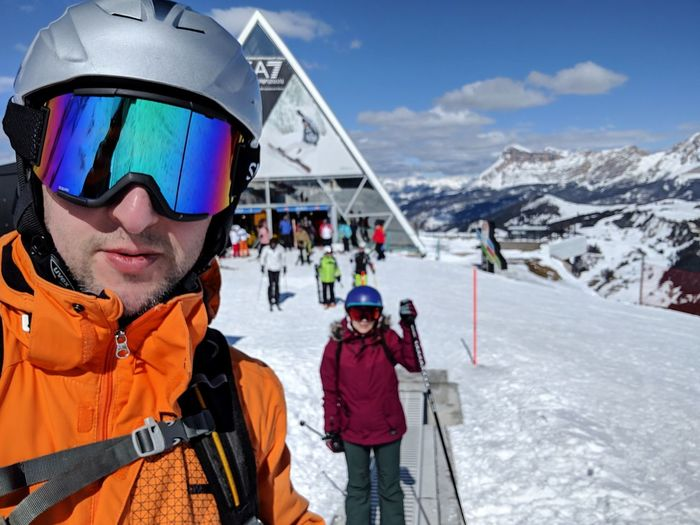 Doing this Sella Ronda thing, orange variant. It's the most famous ski circuit in the world. Skiing Helmet Powder Snow Tirol  Deep Snow Ski Lift Winter Sport Ski-wear Ski Jacket Skiing Ski Resort