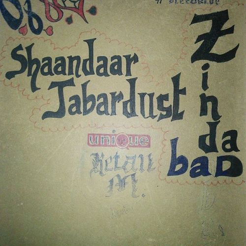 Shaandaar Jabardust Zindabad! Inspired by - MANJHI! Sketched on the back of my drawing pad! Shaandaar Jabardust Zindabad Manjhi Inspired Dialogue Sketch Sketched Instagram Nofilter Blackmarkerdrawing