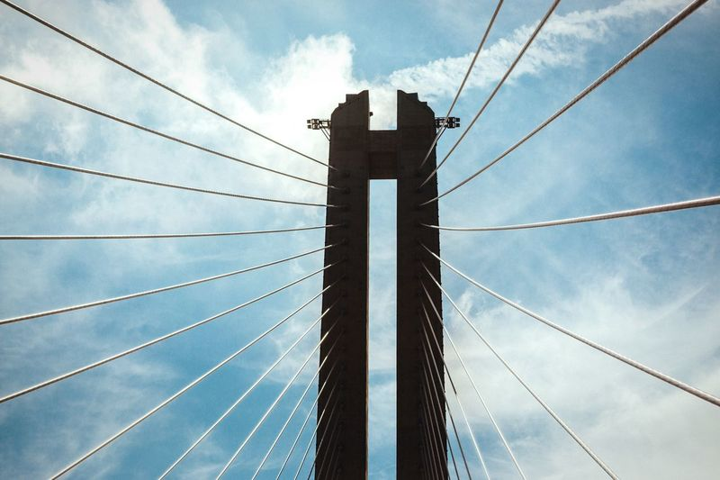 Spread your wings Low Angle View Connection Sky Blue Bridge - Man Made Structure Cable Outdoors Cloud Engineering Cable-stayed Bridge Suspension Bridge Cloud - Sky Steel Cable No People Tall Tower Architecture Bridge Bridges Busan TakeoverContrast Technology Wire Wings Minimalism