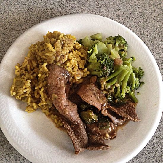 Steak Rice Brocolli Food Porn