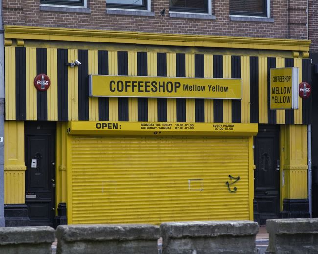 Amsterdam City Freedom Architecture Building Exterior Closed Coffe-shop Coffeshop Communication Fascism Mellow Yellow