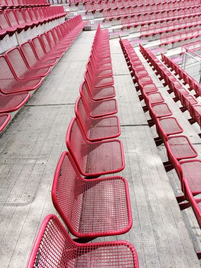 High angle view of empty seats in row