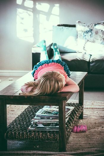 Being a kid is tough Blonde Girl Chilling Couch Furniture Home Little Girl Lounge Lying Lying Down Relaxation Relaxing Resting Sofa Sunday Watching Tv Home Is Where The Art Is