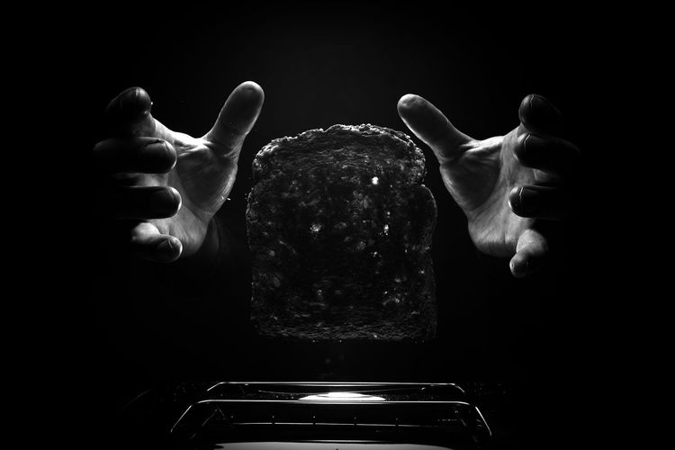 Black Background Human Body Part Dark Human Hand Person Toasted Bread Toast🍞 Toaster Monochrome Light And Shadow Light And Darkness  Light Creative Textures Indoors