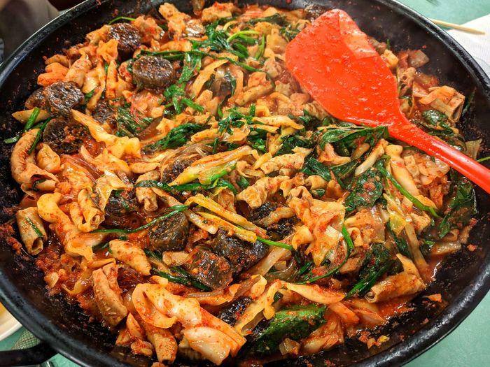 It's my favorite dish. It is very delicious. Korean Food Fried Sundae Gopchang