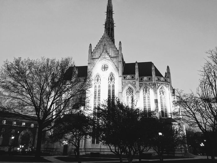 Architecture Bare Tree Building Exterior Built Structure Clear Sky Day Low Angle View No People Outdoors Pittsburgh Place Of Worship Religion Sky Spirituality Travel Destinations Tree