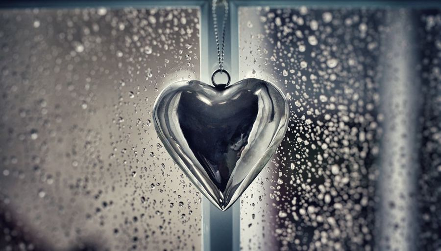 Heart Shape Love Close-up Metal No People Day Water Outdoors Rainy Heart Rain Window