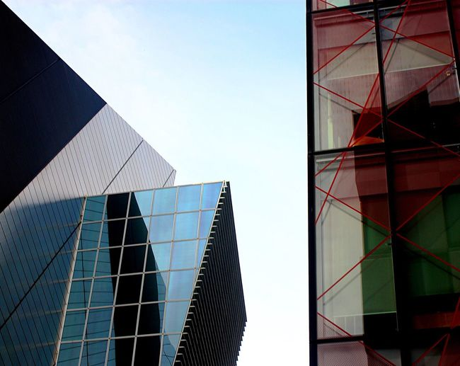 Office block & Bord Gais Energy Theatre Contrast Multi Colored Composition Built Structure Architecture Building Exterior Sky Building Office Building Exterior Low Angle View Modern Glass - Material City Clear Sky Office Reflection Pattern No People
