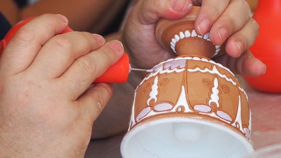 Ceramics Factory Rhodes Greece Bonis Ceramics Ceramic Art Craft Hand Painted Pot Ceramic Pot Skills  Hand Made Decoration One Person Human Hand Close-up One Woman Only