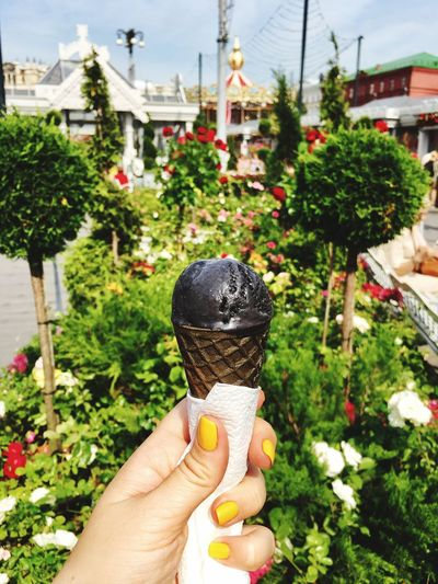 Blackicecream Yellownails Manicure! Yellow Human Body Part Holding Frozen Food Ice Cream One Person Real People Sweet Food Ice Cream Cone Food And Drink Indulgence Outdoors Temptation Day Freshness Dessert Focus On Foreground Food Frozen Sweet Food Close-up