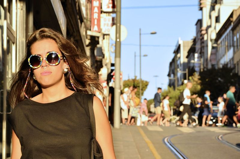 Sunglasses Looking At Camera Portrait One Woman Only City Fashion Outdoors One Person Day Close-up Only Women The Week On EyeEm Portugal City Porto, Portugal Eyemmagazine Porto Stories From The City