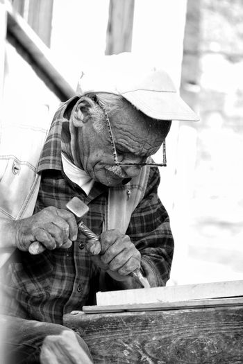 Gjirokaster Albania Man Hammer Working Art People People Watching Hands Monochrome Photography Black And White Traveling Travel Portrait Uniqueness The Street Photographer - 2017 EyeEm Awards The Portraitist - 2017 EyeEm Awards Black And White Friday This Is Aging
