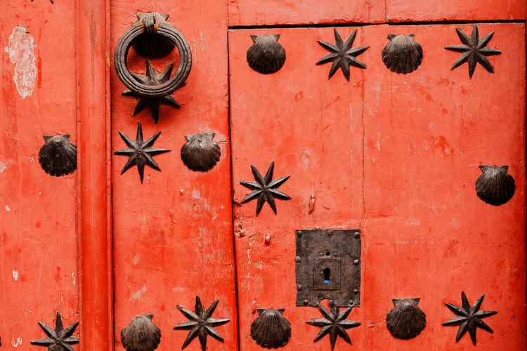 Full frame shot of orange door