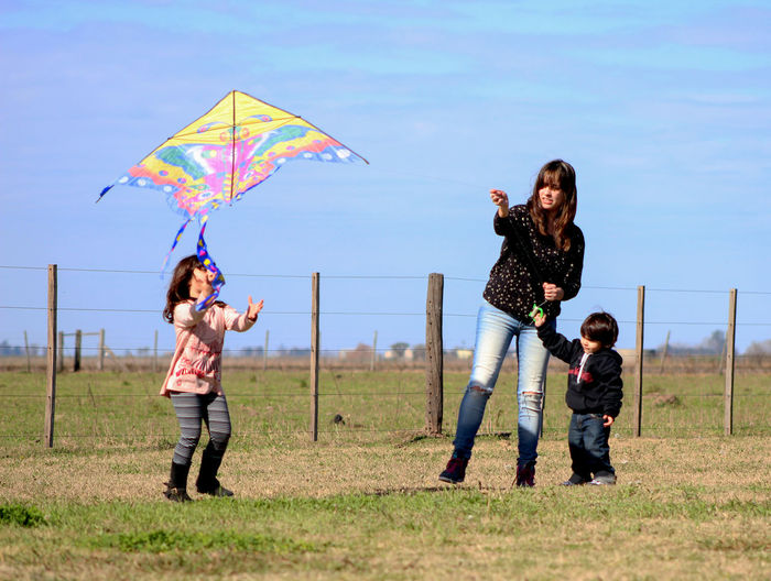 Lovely family kite flying