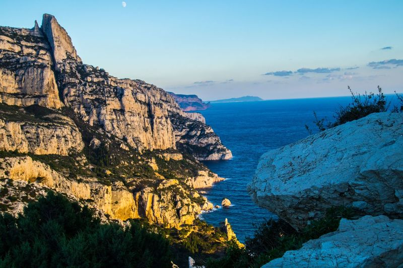 marseille,calanque,bouche du rhone, france Mountain Peak Sky Mountain Beauty In Nature Scenics - Nature Tranquil Scene Rock Water Tranquility Nature Sea Rock Formation Mountain Range Rock - Object No People Cliff Day Solid Idyllic Non-urban Scene Formation Outdoors Eroded