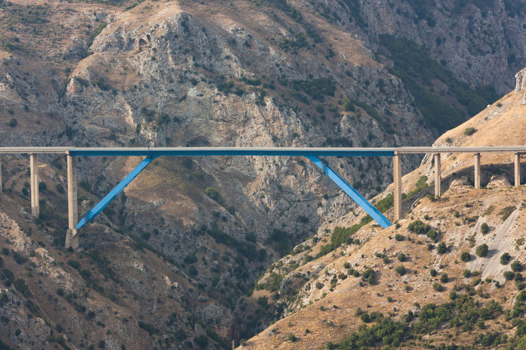 Bridge composed of iron that connects a large canyon to mean a concept