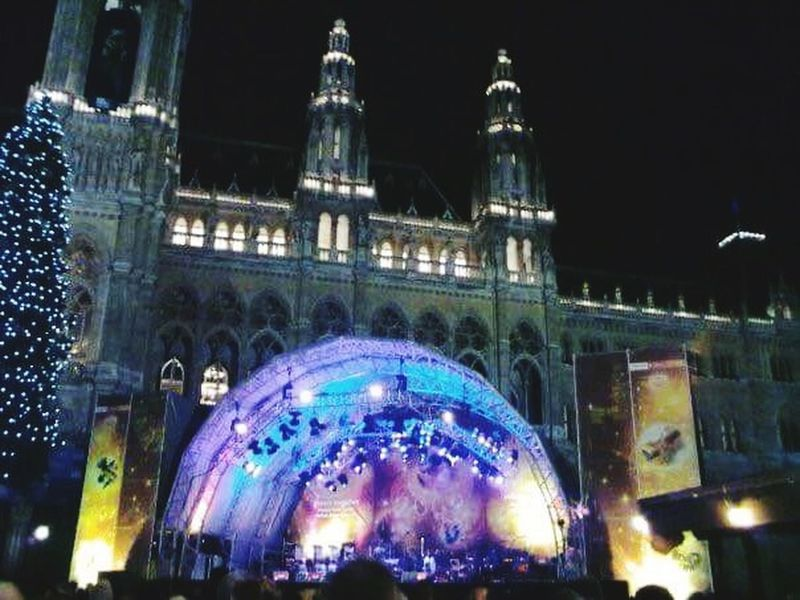 North Wiener Rathaus New Year's Eve Night Architecture Built Structure Illuminated Building Exterior Travel Destinations City Tourism Travel Arts Culture And Entertainment Celebration Light - Natural Phenomenon Decoration