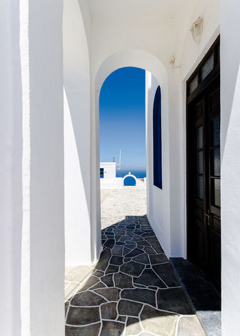 Arch Architecture Blue Built Structure Contrast Day Door Doorway Greece GREECE ♥♥ Horizon Over Water Indoors  Lines And Shapes Nature No People Open Door Sea Sky White Color Whitewashed Window