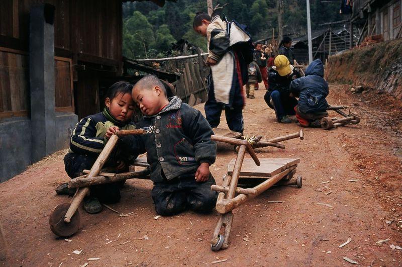 People sitting on wood