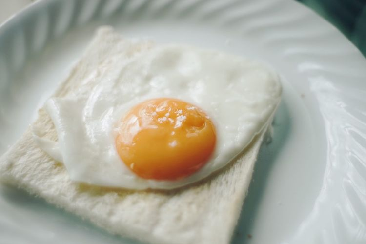 Close-Up Of Fried Egg In Plate
