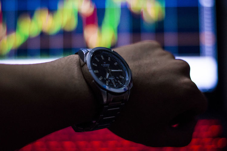 See stock chart time See Stock Chart Time Human Hand Hand Human Body Part Watch Wristwatch Time One Person Real People Lifestyles Body Part Close-up Indoors  Focus On Foreground Personal Accessory Leisure Activity Finger Instrument Of Time Human Finger Personal Perspective Wrist Human Limb Checking The Time