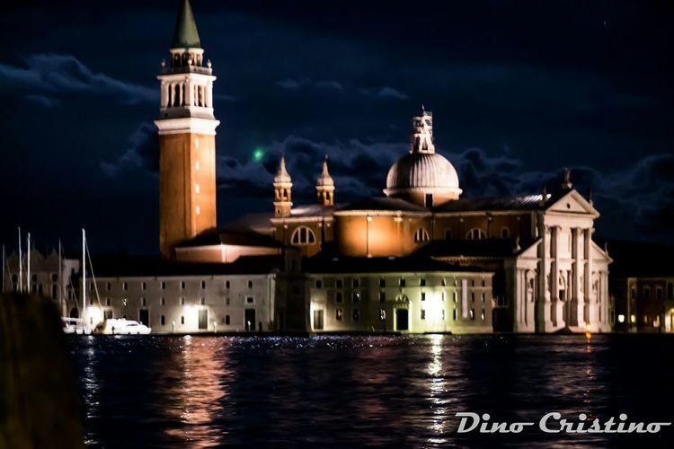 Veneto Venezia Venice Laguna Isola San Giorgio Maggiore Strutture Chiesa Acqua Foto Di Notte Notte Fotografia Notturna Luci Luce Dino Cristino Campanile