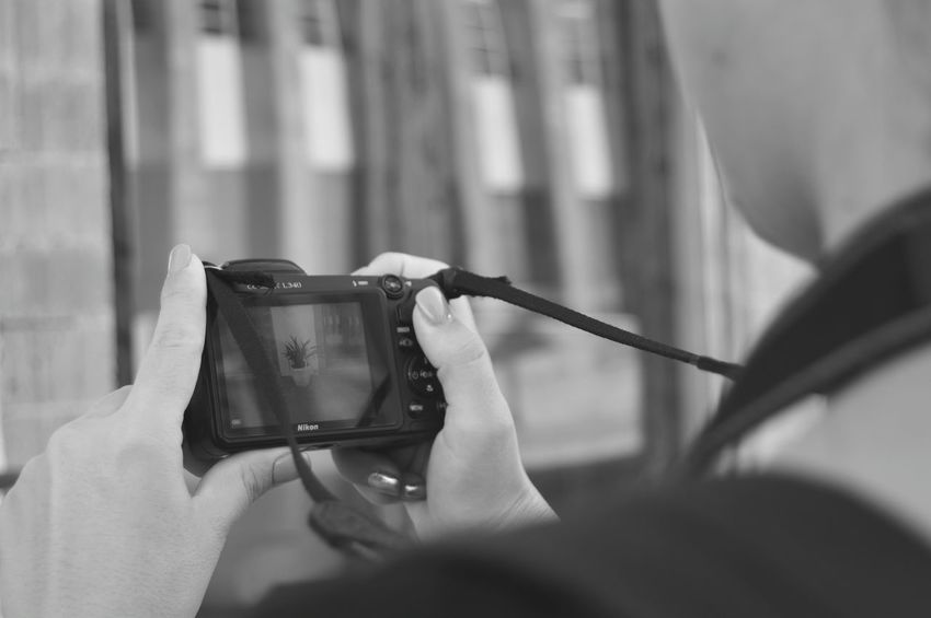 Camera Shooting Photos Streetphotography Woman Reflection Black And White Hobby Picture Art Human Hand Photo Messaging Photography Themes Wireless Technology Photographing Technology Holding Women Mobile Phone Close-up Taking  Using