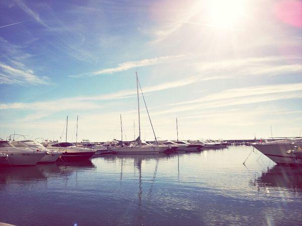 Sea Sun Ship Clouds And Sky SPAIN At Puerto BANUS