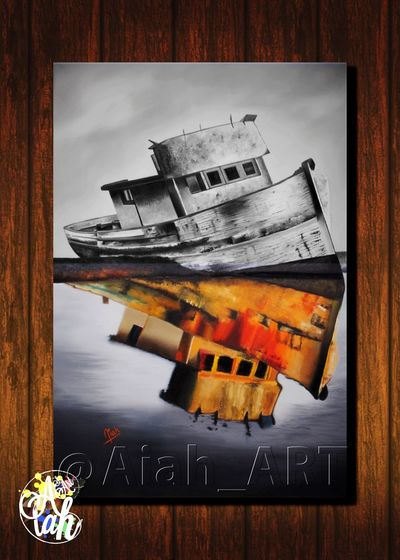 Aiah_artwork Modern Art Gallery Contemporary Art Artistic Decor No People Arts And Crafts Aiah_art Wall Art Decorations Modern Design Original Boat Blackandwhite Oil Painting Oiloncanvas Colors Composite Image Photograph Outdoors Day