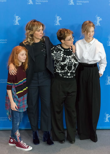 Berlin, Germany - February 18, 2018: Italian actresses Sara Casu, Valeria Golino, Alba Rohrwacher pose with director Laura Bispuri at photo call for the film 'Figlia Mia Daughter of Mine' at Berlinale 68th Berlinale Actor Actors Alba Rohrwacher Artist Famous Film Festival Photocall Valeria Golino Arts Culture And Entertainment Berlinale Berlinale 2018 Berlinale Festival Berlinale2018 Entertainment Entertainment Event Film Industry Gala Laura Bispuri Photo Call Portrait Posing Posing For The Camera Press Conference Sara Casu