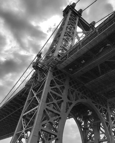 Williamsburg Bridge Architecture Black And White Photography Bridge Built Structure Cloud - Sky Day No People Outdoors Sky Williamsburg Bridge