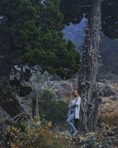 Full Length Of Thoughtful Woman Leaning On Tree In Forest