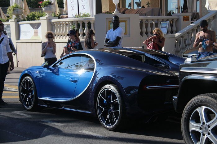 Blue Bugatti Chiron Cannes, France Croisette Luxe Supercar Unique