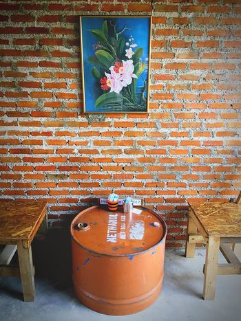 Food And Drink Wood Chairs Oil Tank Red Brick Wall Red Brick Photo Frame Paint Table Flowers