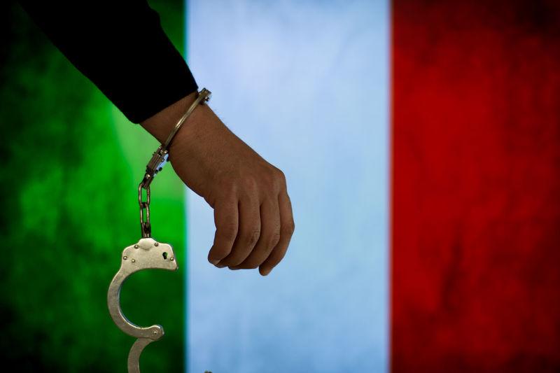 Italy Italian Flag Bribe Murder Prisoner Escape Handcuffs  Justice Law Prison Thief Justice - Concept Handcuffs  Chain Prison Bars Security Bar Hostage