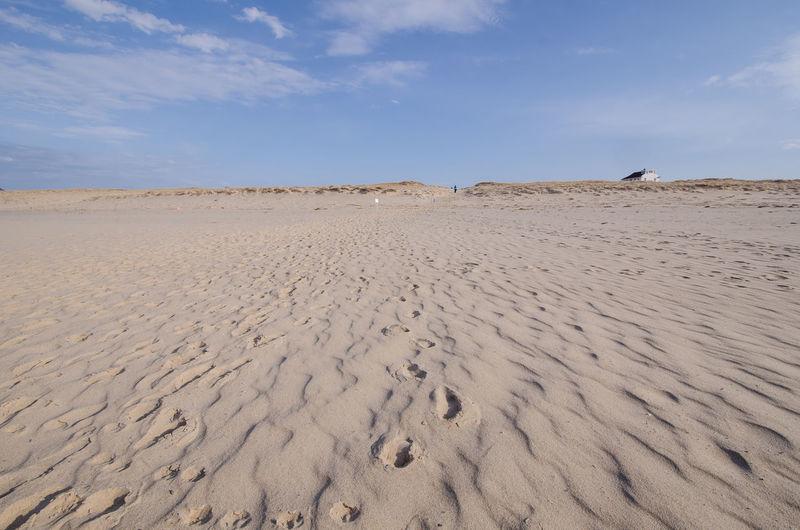 Sand dunes at beach against sky