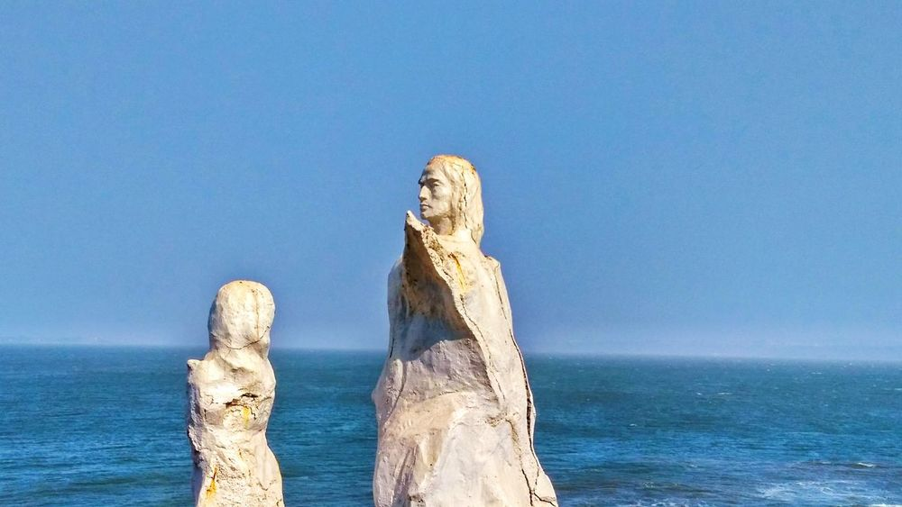 Goa No People Sea Sculpture Statue Representing Sky Outdoors Day Statues And Monuments Travel EyeEm Statue Photography Arts Culture And Entertainment Perspective Goatrip Goa Statues/sculptures Statuettes Sea And Sky Sea View Blue Sky Blue Sea Sea Side Seascape