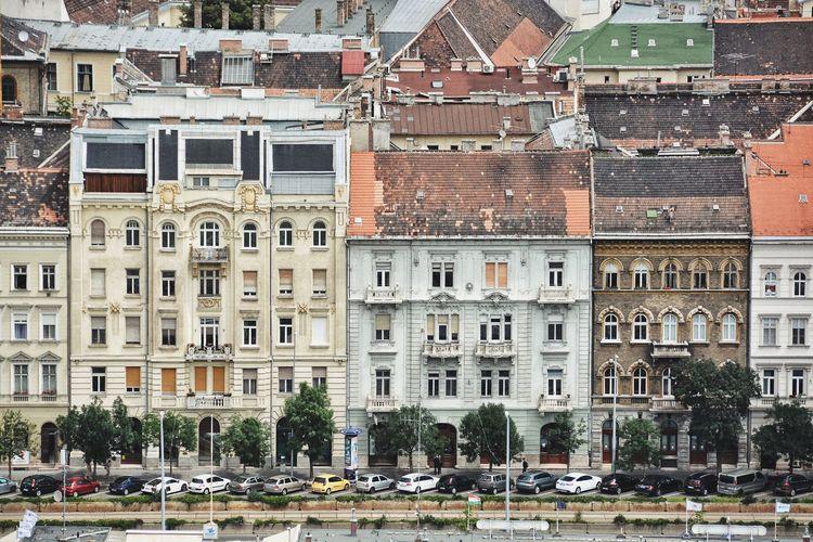 Buildings by road in city