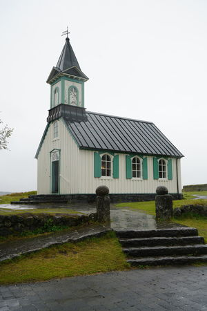 Church Iceland Architecture Building Exterior Built Structure Clear Sky Day Grass No People Outdoors Pingvellir Place Of Worship Religion Sky Spirituality