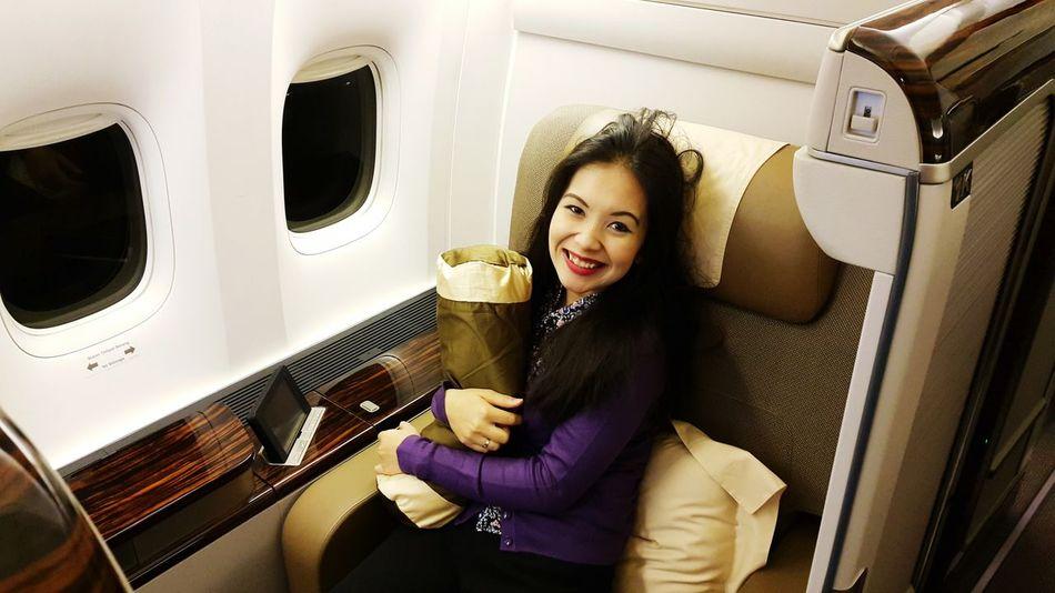 awekened from sleep in First Class Garuda Indonesia