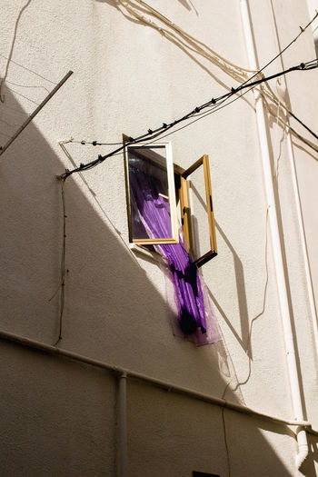 Monopoli Shadows & Lights Building Exterior Built Structure Cables Curtain Italy Light And Shadow No People Open Window Outdoors Purple Shadow Sunlight