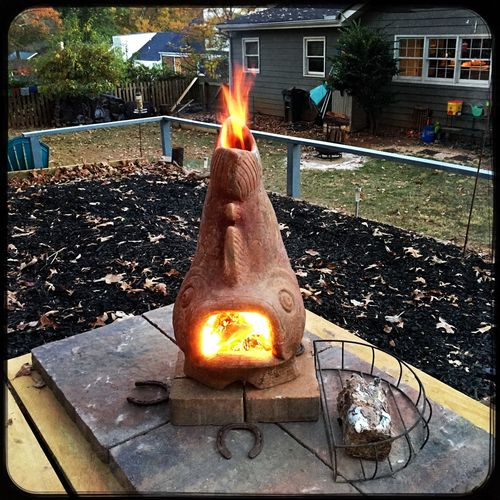 Flame Burning Outdoors Chimera Fire Pit