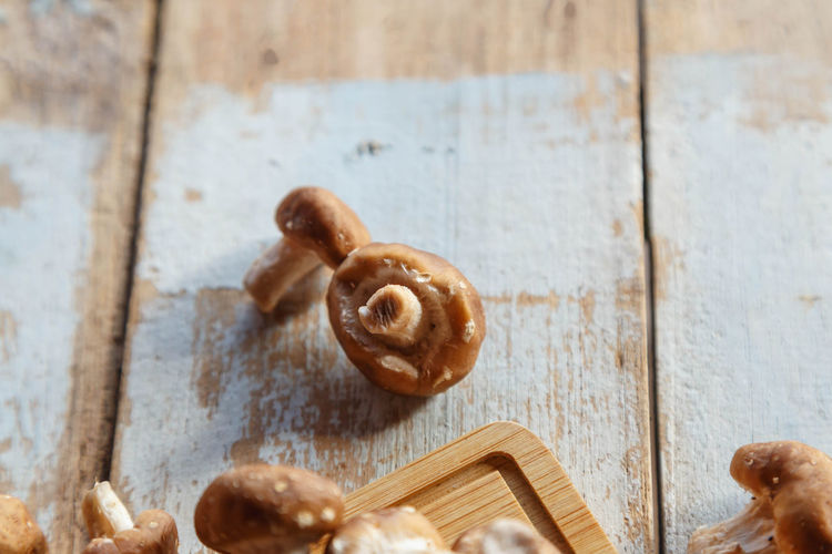 Close-up of snail on table