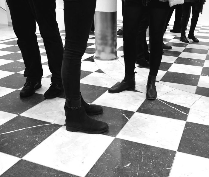 Adult Black Pants Black Shoes Blackandwhite Checkerboardpattern Day EyeEmNewHere Feet Gathering Human Human Leg Indoors  Low Section Marble Marble Floor Men People People Standing On Checkerboard Pattern Marble Floor Real People Shoes Standing Tiled Floor Togetherness Waiting Women