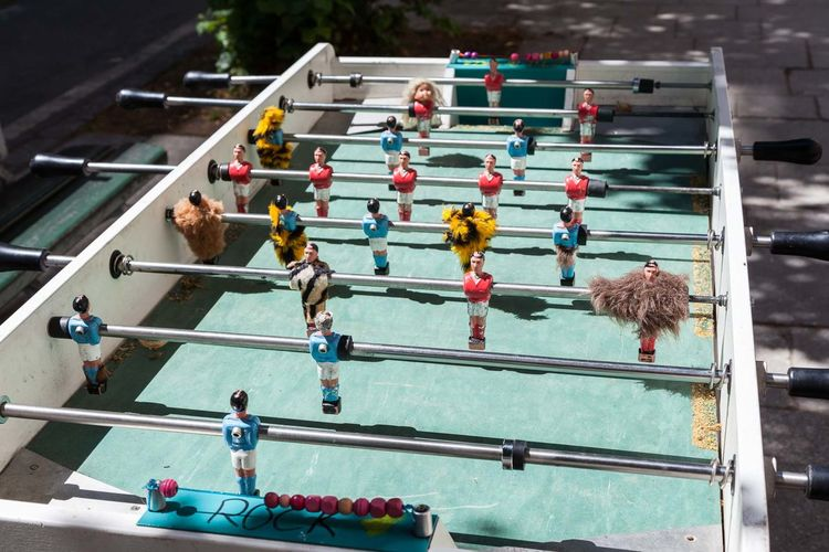 High angle view of foosball table